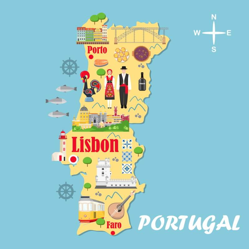 Fly Drive Porto Lissabon kaart
